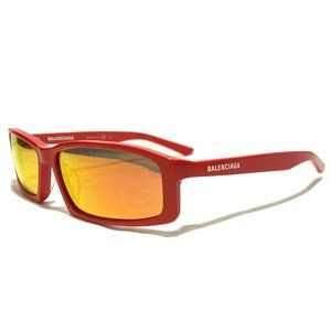 Balenciaga Men's 60mm Rectangular Red Sunglasses
